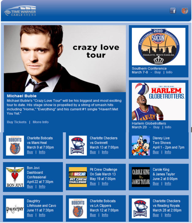 Upcoming Events @ Time Warner Cable Arena