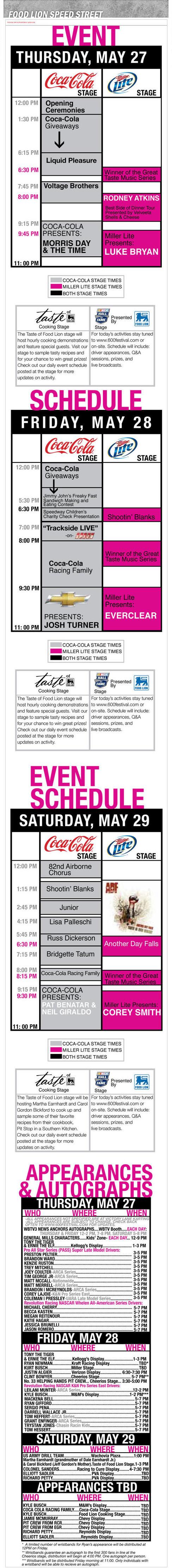 2010 Food Lion Speed Street Full Event Schedule