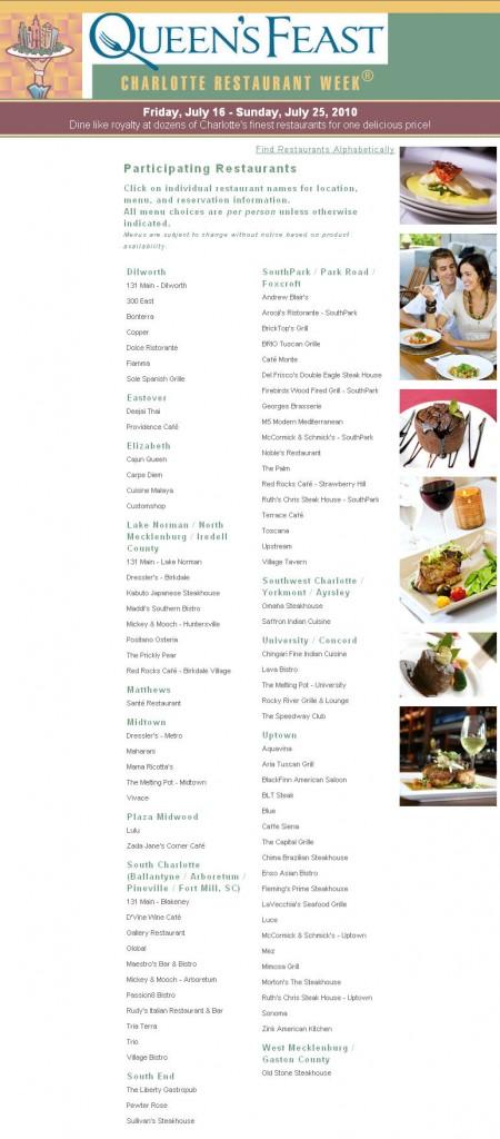 charlotte-restaurant-week-july-2010-participating-restaurants