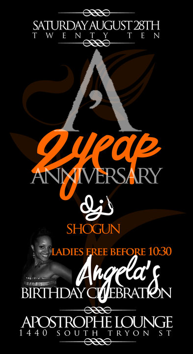 Apostrophe's 2 Year Anniversary August 28th