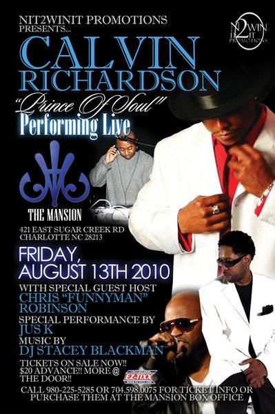 Calvin Richardson @ The Mansion August 13th