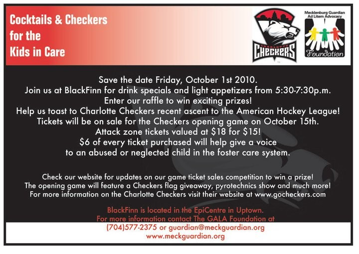 Cocktails & Checkers for the Kids in Care Oct 1st