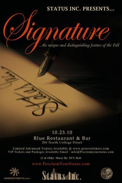 Signature at Blue Oct 23rd