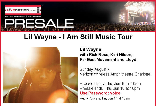 Lil Wayne I Am Still Music Tour August 7th