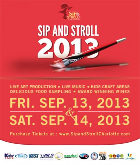 2013 sip stroll art wine music festival for Sip and paint charlotte nc