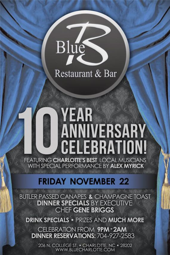 blue restaurant 10 year anniversary celebration