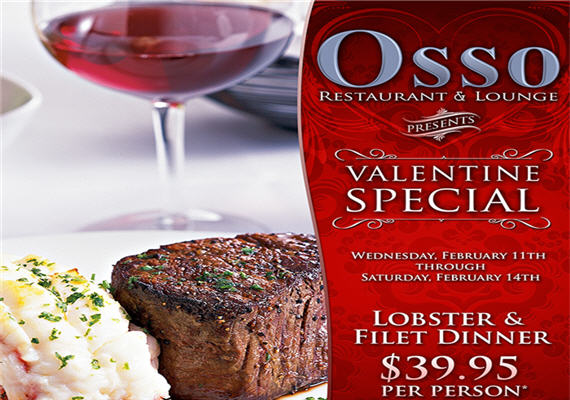 Osso's Valentine's Day Dinner Special