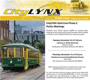 Expansion Plan For Charlotte's Gold Line Streetcar Service